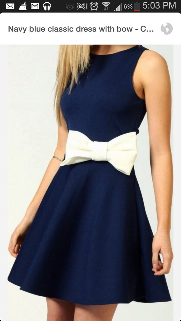 dress blue dress white bow fit and flare