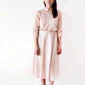 dress,blush pink,shirt dress,miu miu,nude