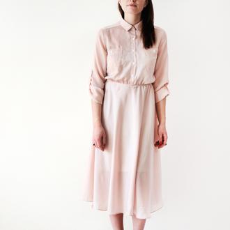 dress blush pink shirt dress miu miu nude