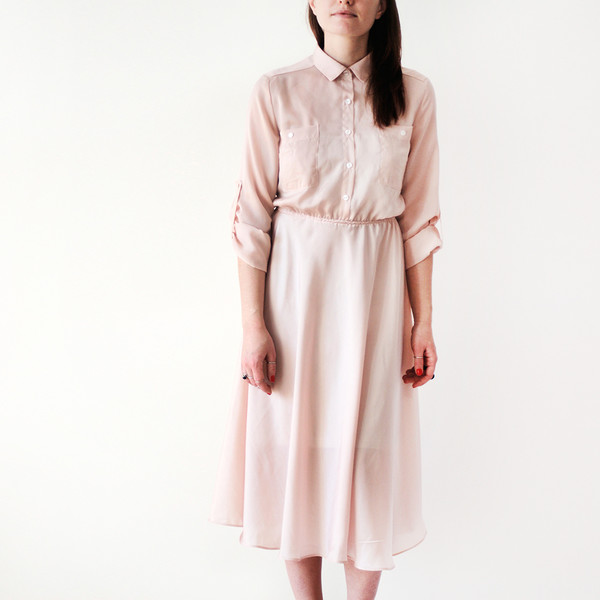 Dress: blush pink, shirt dress, miu miu, nude - Wheretoget