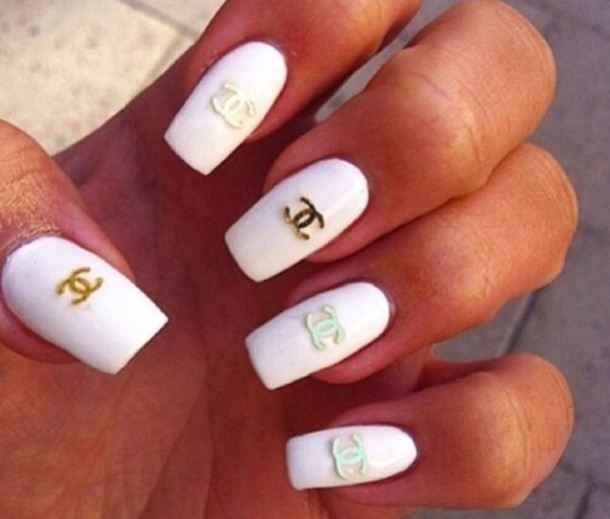 nail polish, chanel, nail art, nails, white, gold, fashion, pretty ...