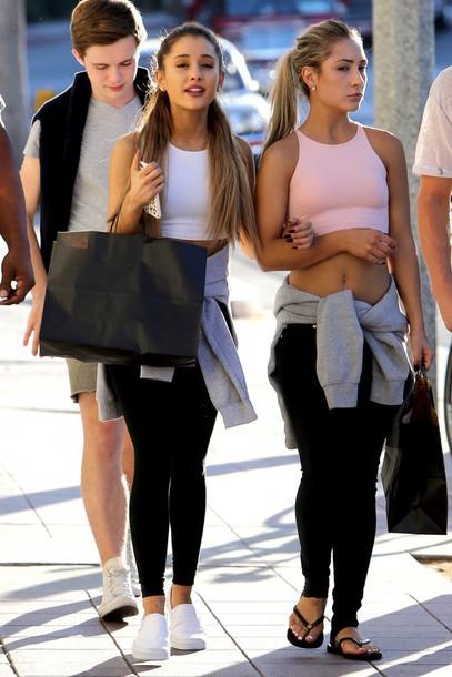 Top Shoes Flats Ariana Grande Crop Tops Wheretoget