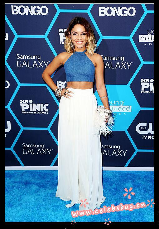 Free shipping vanessa hudgens top dress&pants 2 piece prom dress 2014 young hollywood awards