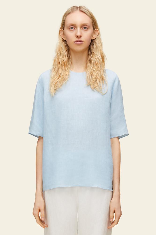 Mansur Gavriel Linen Short Sleeve Blouse - Sky Blue