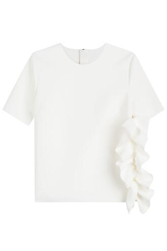 top ruffle white