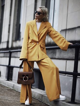 happily grey blogger bag shoes suit blazer yellow jacket yellow pants sneakers fall outfits