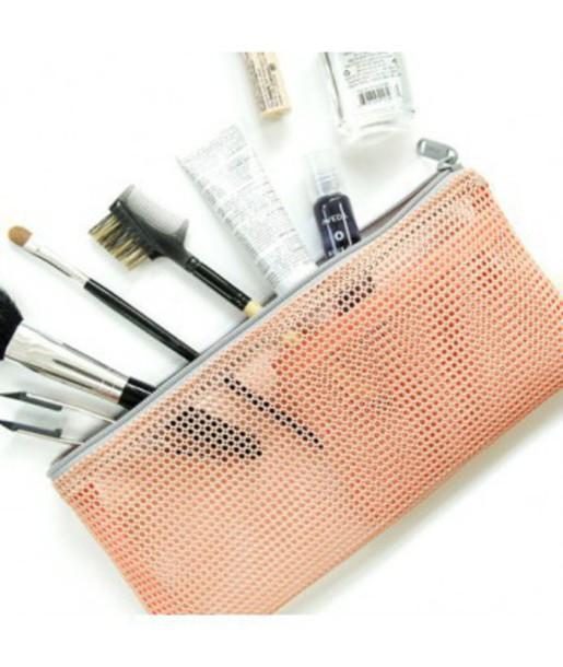 Home Accessory Bag Cute Mesh Make Up Makeup Brushes Makeup Bag Girly Pencil Case Makeup