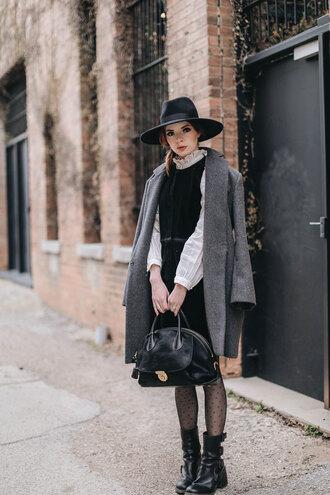 sea of shoes blogger coat dress shirt shoes bag winter outfits grey coat boots handbag wool coat nordstrom velvet dress