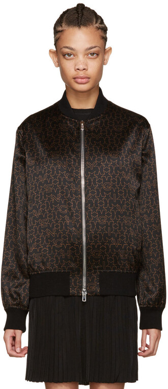 jacket bomber jacket black brown stars