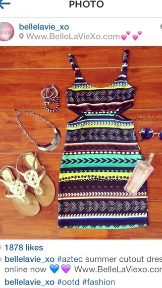dress tribal print dress tribal pattern black green dress blue dress yellow sandals spring break summer clothes
