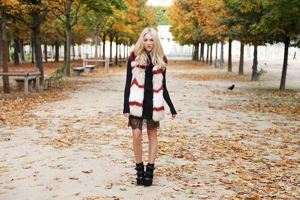cheyenne meets chanel jacket shoes printed fur vest