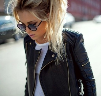 jacket leather jacket black leather jacket cool tumblr outfit hipster girly outfits tumblr outfit fashion sunglasses black tumblr palr pale grunge white cute night coat leather gold winter outfits outwear