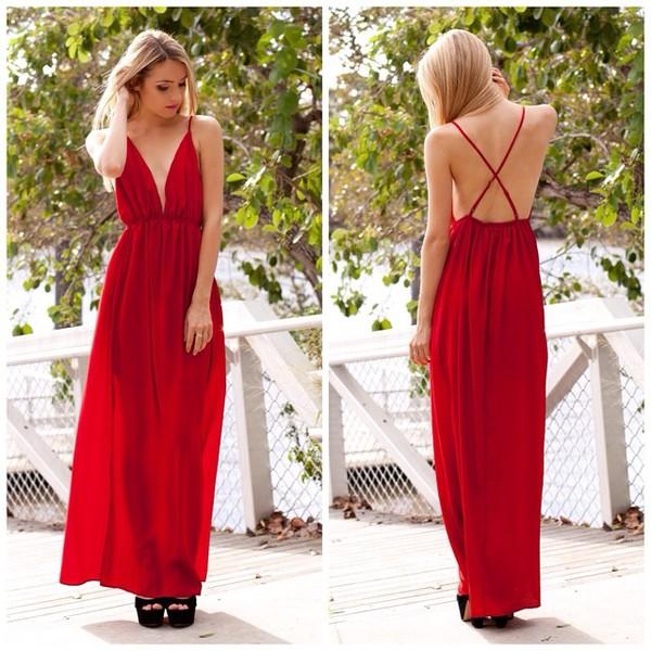dress red red dress maxi backless maxi dress split skirt split maxi plunge neckline shopfashionavenue
