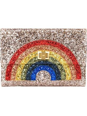 glitter rainbow clutch metallic bag