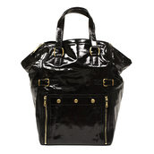 bag,ysl,yves saint laurent,tote bag,patent leather,black,designer bag