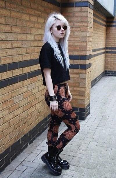 leggings pants moon and sun black leggings