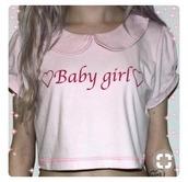 top,pink babygirl,pastel,peterpan collar,crop-top
