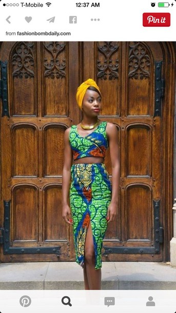 dress african 2 piece dress set