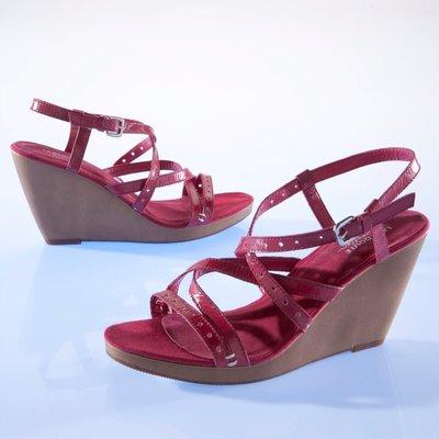 Sandales compensées cuir