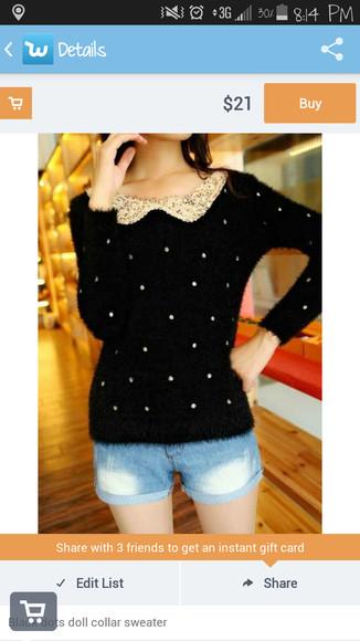 black sweater peter pan collar