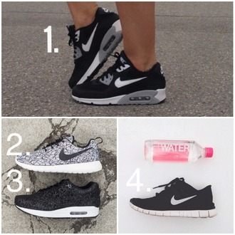 shoes nike black grey white sportswear gym