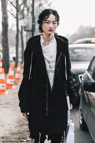 coat tumblr streetstyle fashion week 2017 black coat t-shirt white t-shirt feminist tshirt