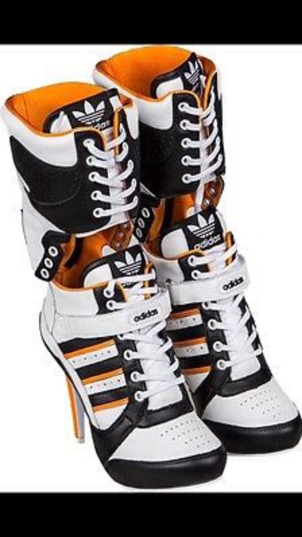 shoes, adidas, jeremy scott, heels, harley quinn, adidas jeremy scott, adidas heels - Wheretoget