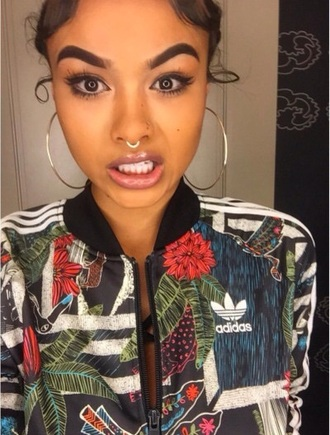 jacket adidas sweater adidas colorful floral tropical baddies black girls killin it