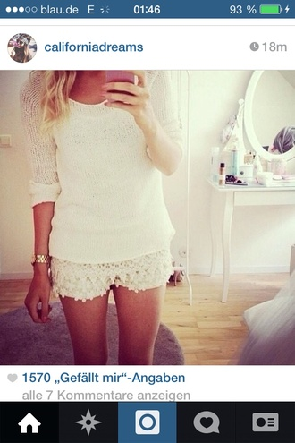 shorts lace withe hot pants spitze style sweet h&m sweater lace shorts crochet shorts
