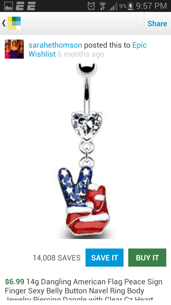 jewels belly button ring peace sign american flag