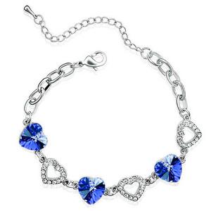 Elegant Sapphire / Royal Blue Crystal Hearts Rhinestones Silver Bracelet BB47   Amazing Shoes UK