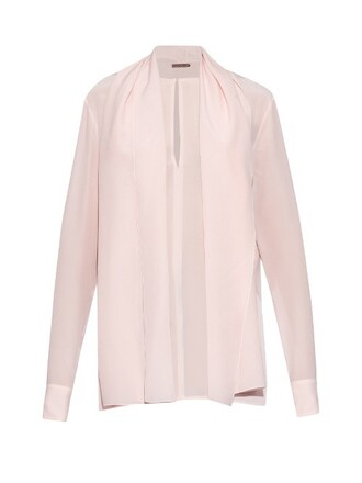 blouse silk light pink light pink top