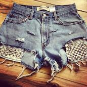 shorts,vintage,levi's,High waisted shorts,distressed shorts,denim vintage levis,studded shorts,studded denim shorts