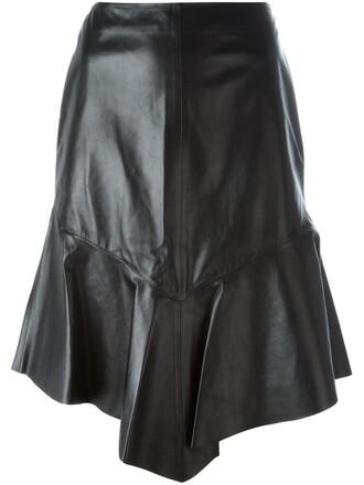 skirt peplum skirt leather black