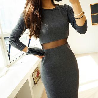 dress korean fashion asian fashion curvy xxl sexy mesh see through cool clubwear hot h and m