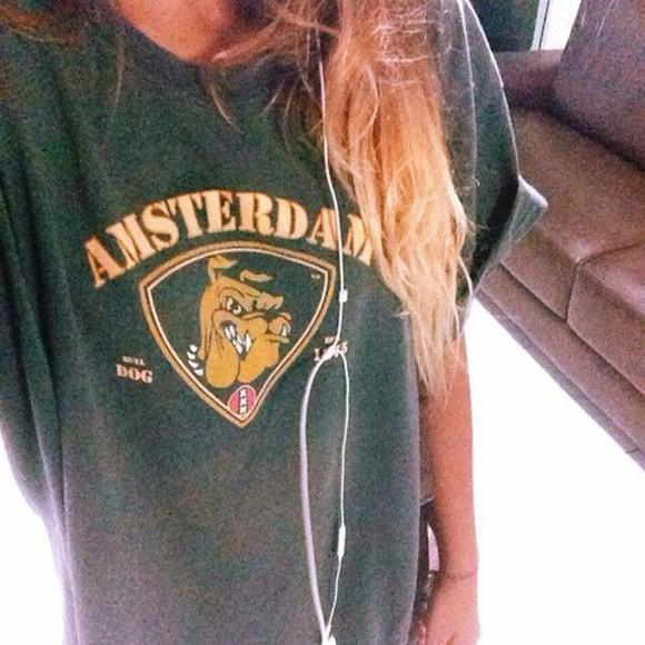 dog old school t-shirt top green grey amsterdam grunge print team