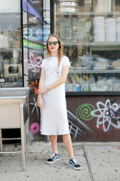 man repeller,blogger,t-shirt,dress,shoes,sunglasses,pants,shirt,white dress,midi dress,vans,vans outfits,silk sleepwear,silk slip dress,slip dress,dress over t-shirt