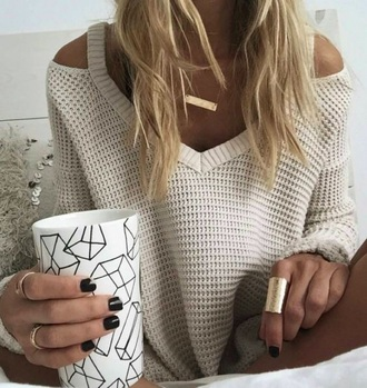 sweater trendy love fall outfits jewels jewelry gold gold necklace necklace comfy cute boho soft grunge holes girl sweatshirt sweet beige beautiful top off the shoulder cut out shoulder knitted sweater cut-out shoulder sweater white sweater knitwear ring