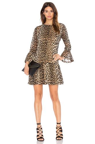 dress shift dress ruffle brown