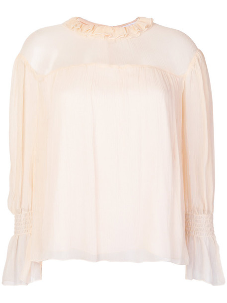 See by Chloe blouse women nude cotton silk top