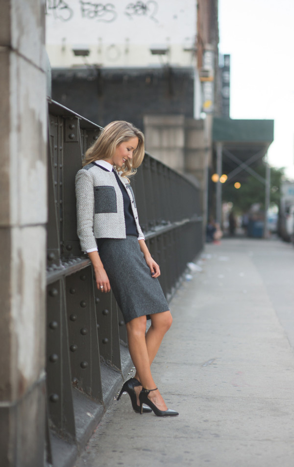 the classy cubicle blogger jacket skirt shoes