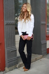 birdalamode,blogger,sweater,blouse,shoes,pants,white top,cardigan,white cardigan,clutch,pink clutch,black pants,office outfits,pointed toe pumps,pumps,spring outfits