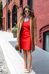 the corporate catwalk,blogger,sunglasses,office outfits,red dress,hat,camel coat