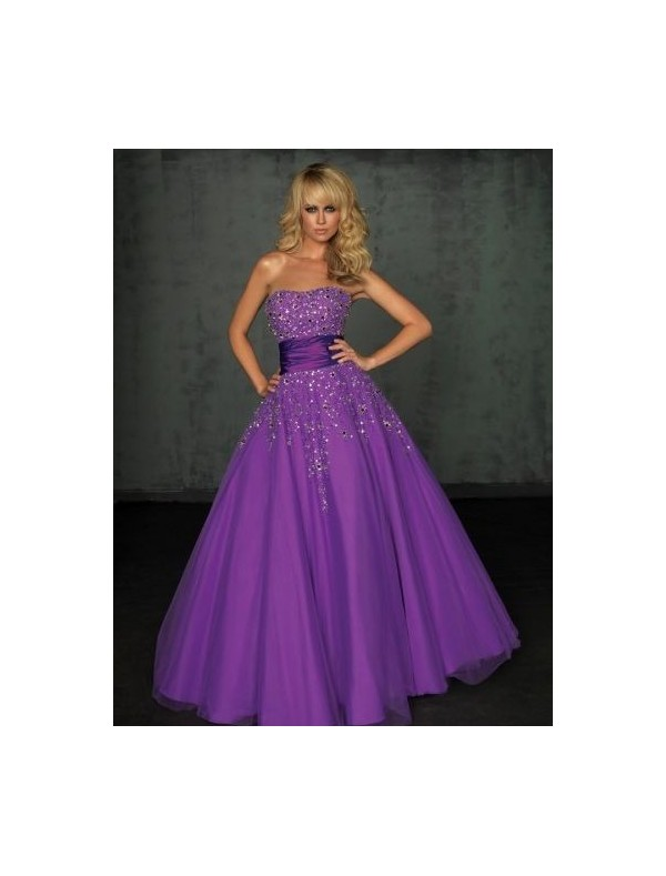 Strapless Neckline A-Line Prom Dress with Beaded Appliques - Special Occasion - RainingBlossoms