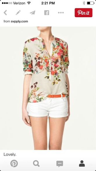 blouse floral shirt fashion multi colored white shirt