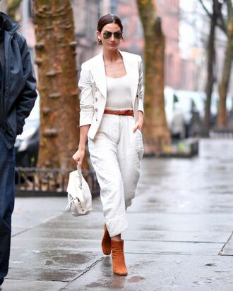pants blazer ankle boots lily aldridge belt model off-duty streetstyle sunglasses jacket