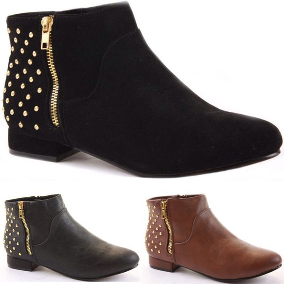studs black ankle boots