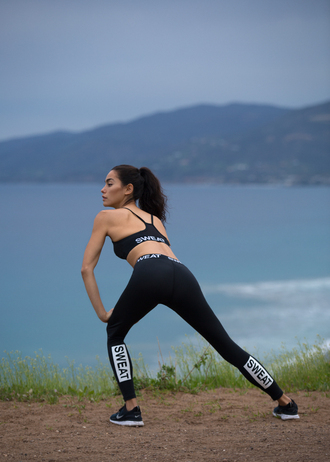 sweat the style blogger workout leggings sports bra sportswear fitness leggings workout sports shoes sports leggings black leggings black top nike nike shoes black sneakers sneakers
