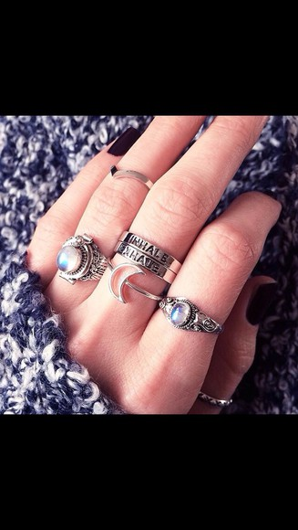 adorable jewels ring aqua indie cute exhale inhale rings and tings skirt knuckle ring