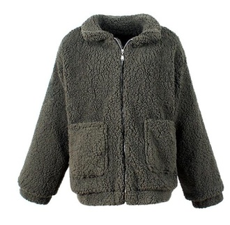 jacket girly zip zip-up zip up jacket sherpa green